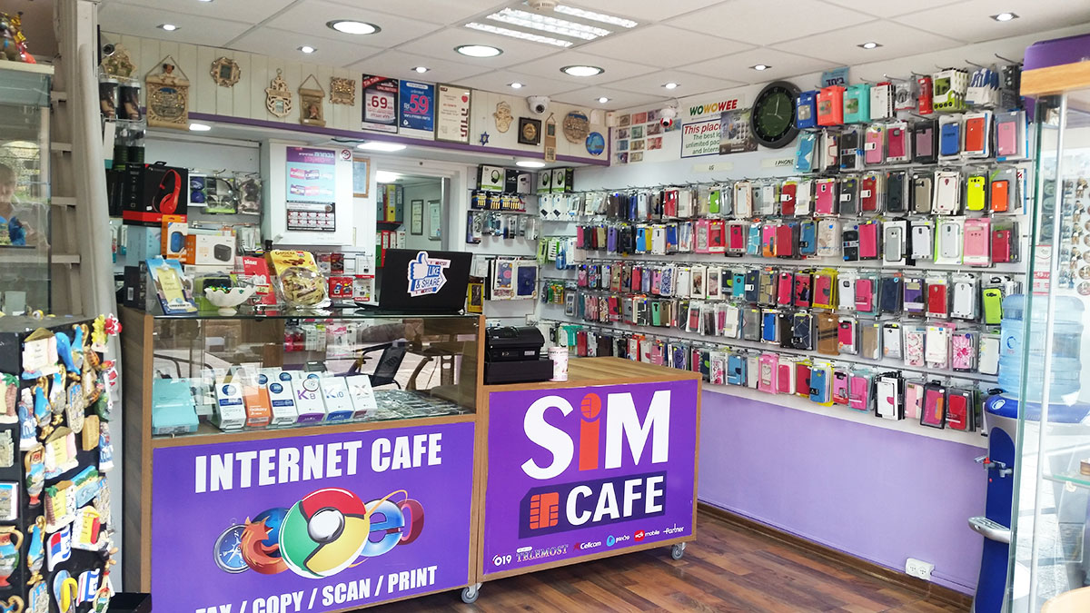 Cellular accessories at Sim Cafe shop